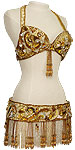 Gold Sequin & Fringe Egyptian Bra & Belt Belly Dance Costume - At DancingRahana.com