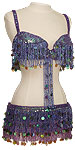 Purple Irridescent Sequin Fringe & Paillette Egyptian Bra & Belt Belly Dance Costume - At DancingRahana.com