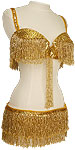 Gold Sequin Fringe & Beads Egyptian Bra & Belt Belly Dance Costume - At DancingRahana.com