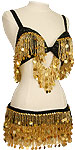 Black Sequin Gold Pailettes & Fringe Egyptian Bra & Belt Belly Dance Costume - At DancingRahana.com