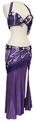 Purple Jeweled Egyptian Bra & Skirt In Stock Belly Dance Costume - At DancingRahana.com