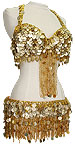 Gold Egyptian Coin & Fringe Bra & Belt Belly Dance Costume - At DancingRahana.com