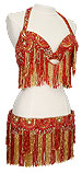Red Irridescent Sequin & Fringe Egyptian Bra & Belt In Stock Belly Dance Costume -