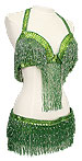 Green Bra and Belt Belly Dance Costume