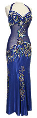 Royal Blue Lamé with Jewels Egyptian Dress Belly Dance Costume - At DancingRahana.com