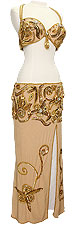 Beige Lamé with Jewels Egyptian Bra & Skirt In Stock Belly Dance Costume - At