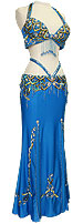 Blue Sequin Jeweled Egyptian Bra & Skirt In Stock Belly Dance Costume - At DancingRahana.com