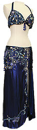 Blue Jeweled Egyptian Bra & Skirt In Stock Belly Dance Costume - At DancingRahana.com