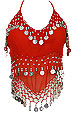 Red Sheer Belly Dance Coin Top - At DancingRahana.com