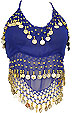 Royal Blue Sheer Belly Dance Coin Top - At DancingRahana.com