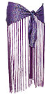 Purple Brocade and Fringe Belly Dance Hip Scarve - At DancingRahana.com