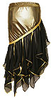 Foil Sequined Sheer Panel Belly Dance Skirt Gold - At DancingRahana.com