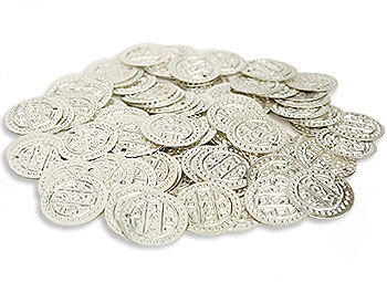 Silver Costume Coins Large Loose - At DancingRahana.com