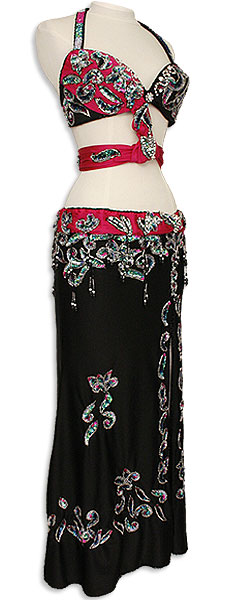 Black with Burgundy Accents Egyptian Bra & Skirt Belly Dance Costume - At DancingRahana.com