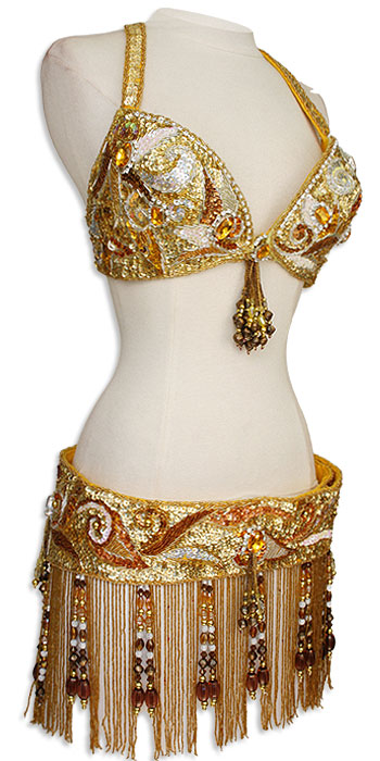 Gold with Copper Sequin & Jewels Egyptian Bra & Belt In Stock Belly Dance Costume - At DancingRahana.com