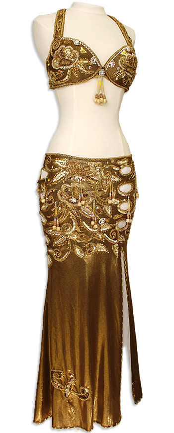 Copper with Gold Sequin & Jeweled Fringe Egyptian Bra & Skirt Belly Dance Costume - At DancingRahana.com