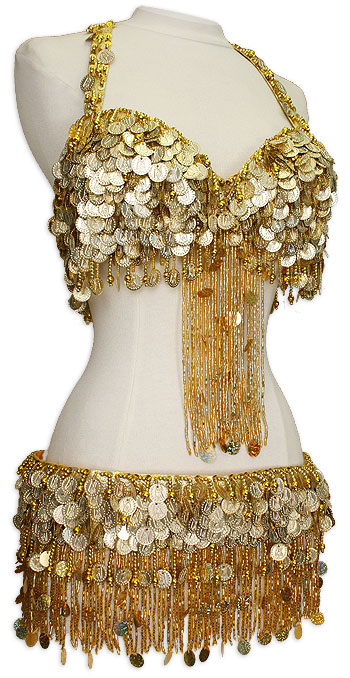 Gold Egyptian Coin Fringe Bra Belt Belly Dance Costume Dancingrahana
