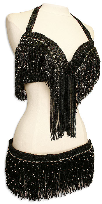 Black Sequins Fringe & Silver or Gold Beads Bra & Belt Belly Dance Costume - At DancingRahana.com