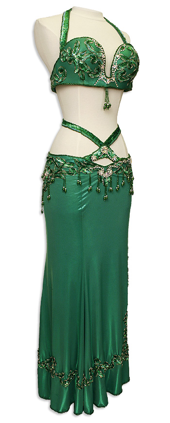 Green Sequined Amp Jeweled Egyptian Bra Amp Skirt In Stock