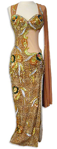 Leopard Print with Sheer Side Dress Belly Dance Costume