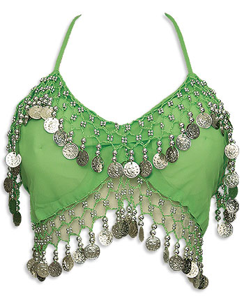 Green Sheer Belly Dance Crop Coin Top - At DancingRahana.com