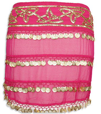 Hot Pink Sheer Multiple Row Coin Belly Dance Hip Scarve - At DancingRahana.com
