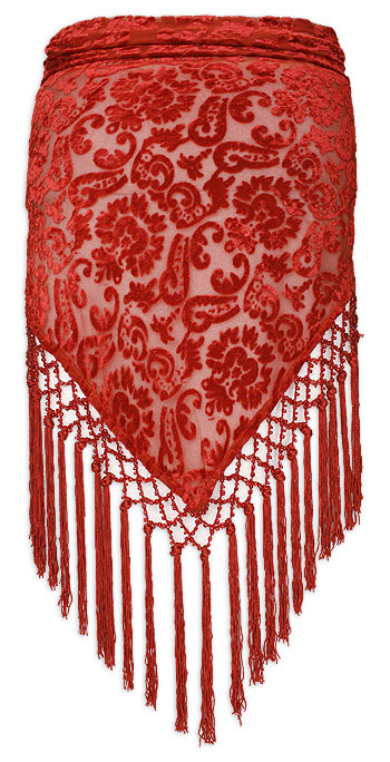 Burnt Velvet with Florals Red Belly Dance Hip Scarve - At DancingRahana.com
