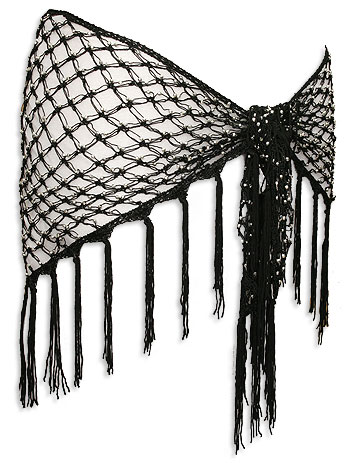 Black Silver Bead Crochet Belly Dance Hip Scarve At