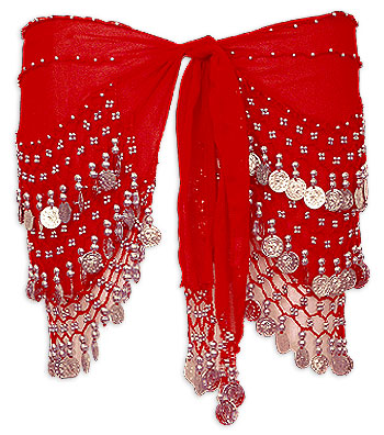 Red with Multiple Row Gold Coin Belly Dance Hip Scarve
