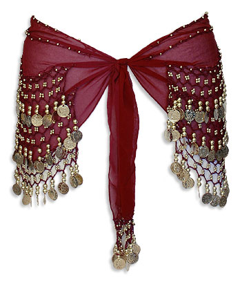 Burgundy Sheer Belly Dance Hip Scarve - At DancingRahana.com