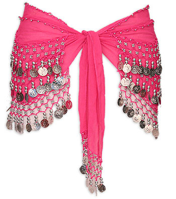 Hot Pink with Multiple Row Coin Belly Dance Hip Scarve - At DancingRahana.com