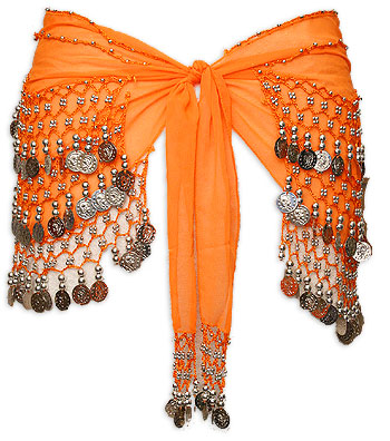 Orange with Multiple Row Coin Belly Dance Hip Scarve - At DancingRahana.com