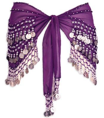 Purple with Multiple Row Coin Belly Dance Hip Scarve - At DancingRahana.com