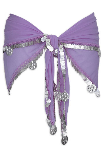 Lavender with Single Row Coin Belly Dance Hip Scarve - At DancingRahana.com