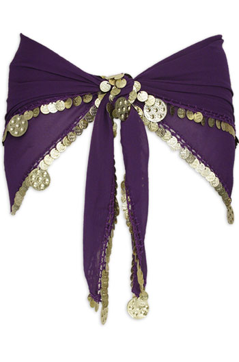 Purple with Single Row Coin Belly Dance Hip Scarve - At DancingRahana.com