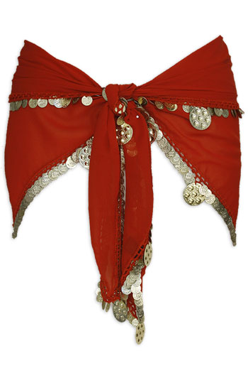 Red with Single Row Coin Belly Dance Hip Scarve - At DancingRahana.com
