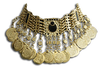 Afghan Coin Choker Necklace Belly Dance Jewelry - At DancingRahana.com