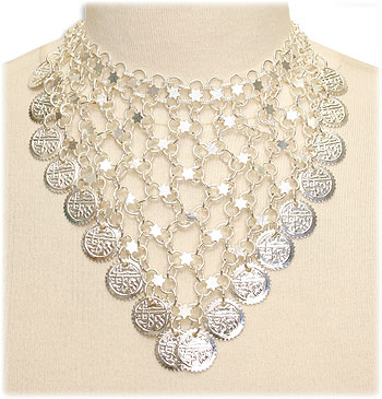 Silver Coin Crochet Necklace - At DancingRahana.com