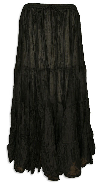 Black Cotton 7 Yard Gypsy Belly Dance Skirt - at DancingRahana.com