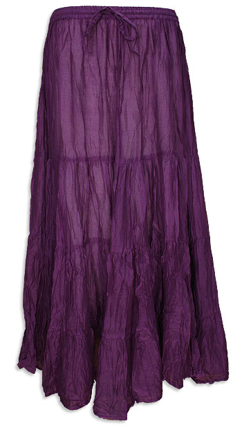 Purple Cotton 7 Yard Gypsy Belly Dance Skirt - at DancingRahana.com