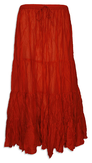 Red Cotton 7 Yard Gypsy Belly Dance Skirt - at DancingRahana.com