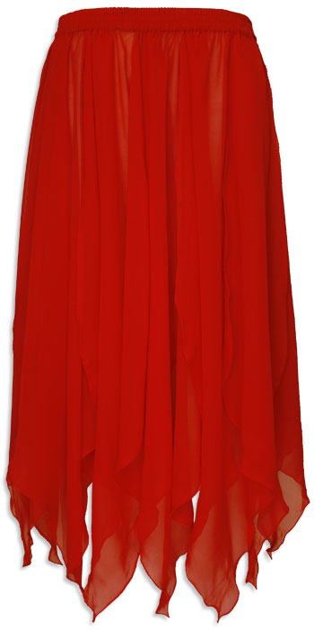 Red Chiffon Belly Dance Petal Skirt - at DancingRahana.com
