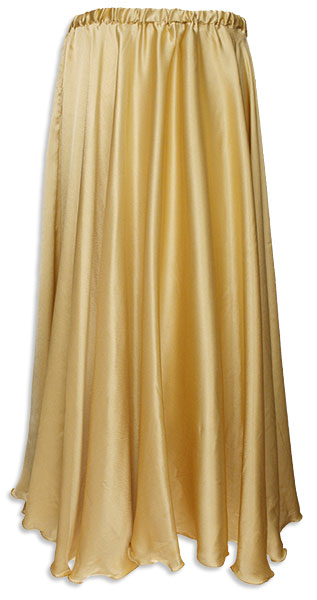 Belly Dancer Long Pleated Circle Skirt, Gold Satin - At DancingRahana.com