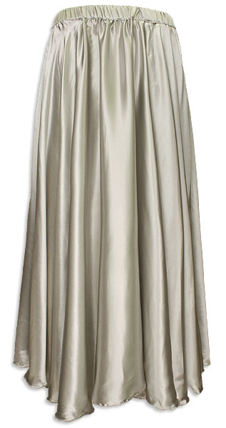 Belly Dancer Long Pleated Circle Skirt, Silver Satin - At DancingRahana.com