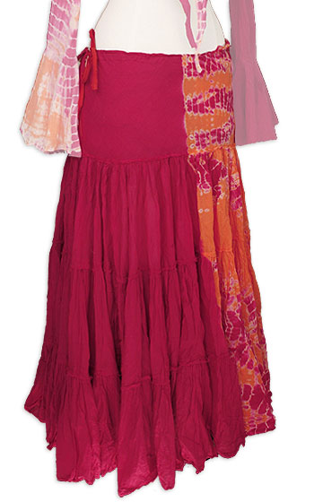 Gypsy Magenta & Orange Tye Dye Belly Dance Circle Skirt - At DancingRahana.com