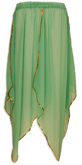 Sheer Belly Dance Panel Skirt Green - at DancingRahana.com