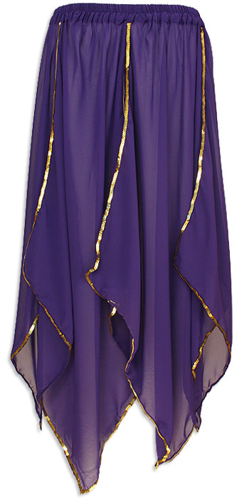 Sheer Belly Dance Panel Skirt Purple - at DancingRahana.com