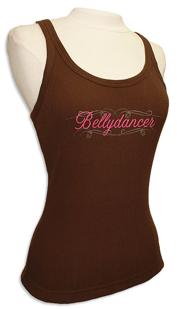Bellydancer Logo Ribbed Tank Top Brown - At DancingRahana.com