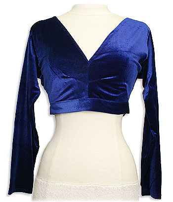 Blue Choli Long Sleeve Tie In Back Belly Dance Top - At DancingRahana.com