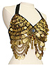 Black with Gold Coins Belly Dance Bra Top - At DancingRahana.com